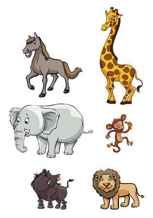 lion baby: le�n, jabal�, mono, elefante, girrafe, y el caballo en Wild Animal Group Vectores