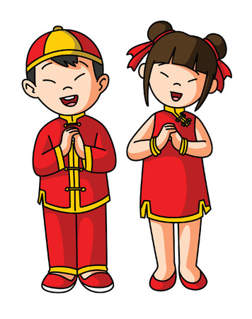 costumes: greeting couple for chinese happy new year