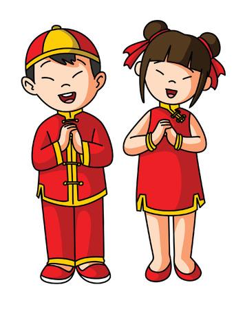 ni�as chinas: Saludo de los pares de chino feliz a�o nuevo Vectores