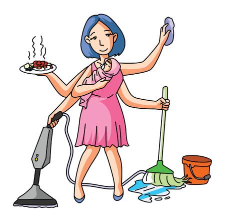 House Wife Multi Job Illustration