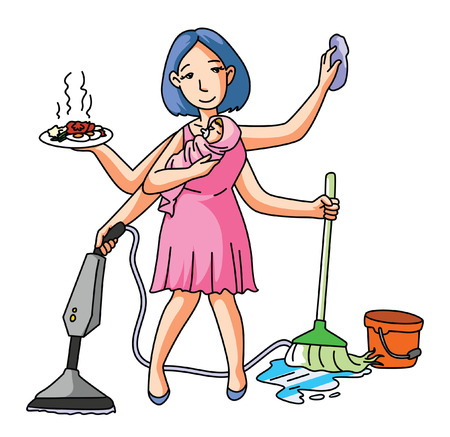 wives: House Wife Multi Job Illustration