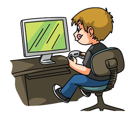niños jugando videojuegos: Juego Jugar al muchacho Vectores