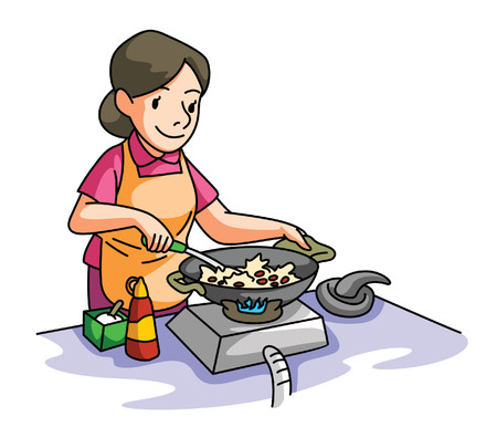 House Wife cooking Vectores
