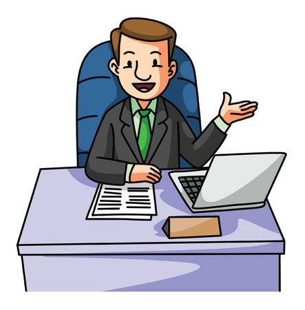 Succes Business man on desk Illustration