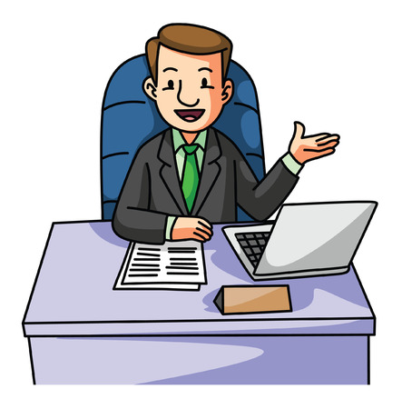 succes: Succes Business man on desk Illustration