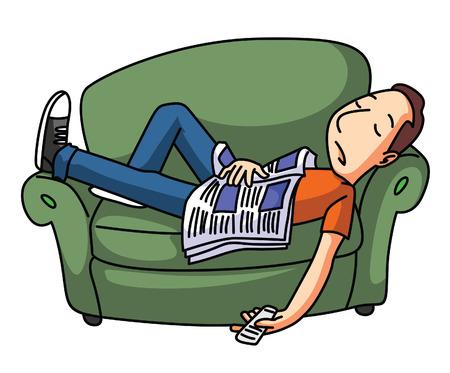 perezoso: Hombre vago sueño en el sofá Vectores