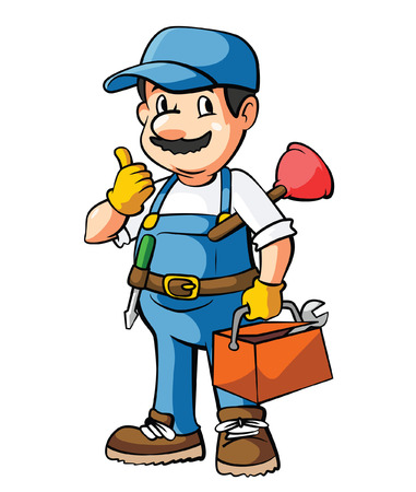 plumbing tools: Idraulico Cartoon Illustration