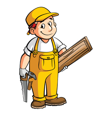 Carpenter Cartoon Illustration Vectores