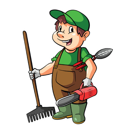 hedge: Gardener Cartoon Illustration