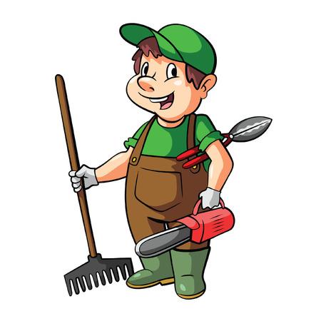 Jardinier Cartoon Illustration