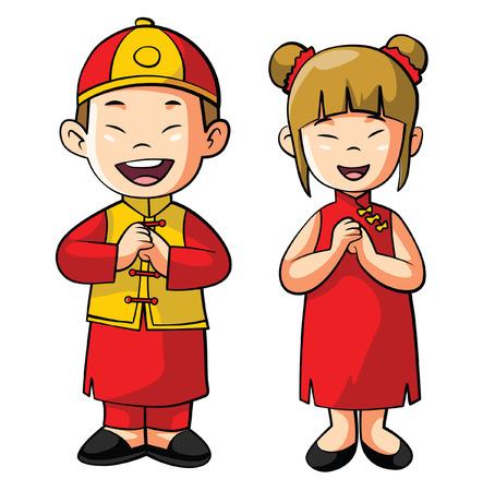 asian couple: Chinese Costum Couple Cartoon Illustration