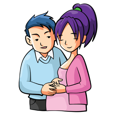 pregnant mom: Pregnant Mom Cartooon Illustration Illustration