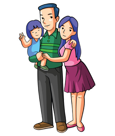 family isolated: Happy Family Cartoon Illustration