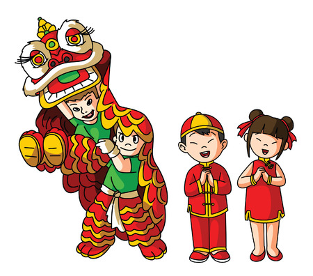 Chinesse Lion dance and Couple Illustration