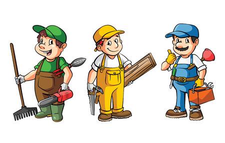 carpintero: Trabajador Set: Jardinero, carpintero y fontanero