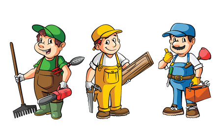 worker cartoon: Worker Set : Gardener,Carpenter And Plumber