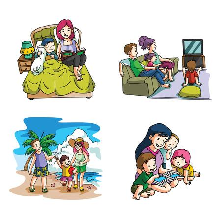 eltern und kind: Familien-Lebensstil- Illustration