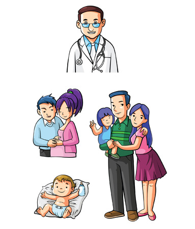 Small Family Set lifestyle Illustration