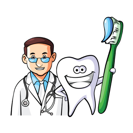 dentist cartoon: Tooth Doctor Illustration