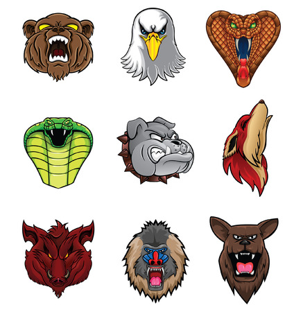 sport cartoon: Animal Head Collection : Nine Illustration