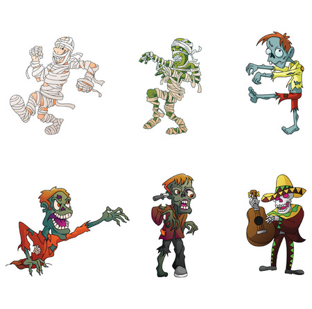 Zombie and Mummy Illustration Collection Vector