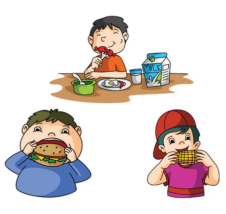 starve: Boys Eat Burger Illustration