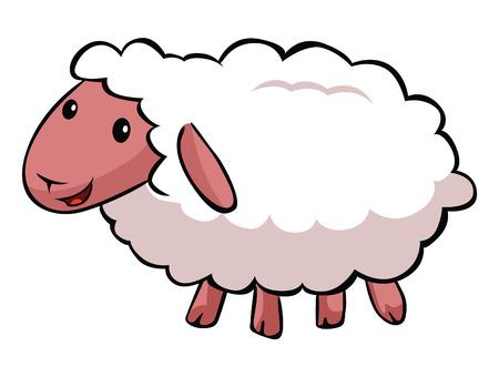 ovejitas: De dibujos animados ovejas Hapy Vectores
