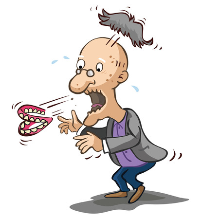 mouth: Old man shocked Illustration