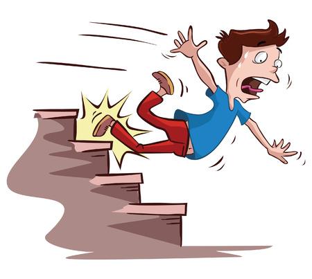 homens escorregou nas escadas Ilustração