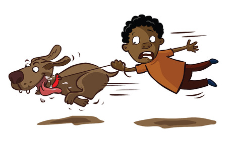 perro corriendo: niño feliz con el perro de tracción