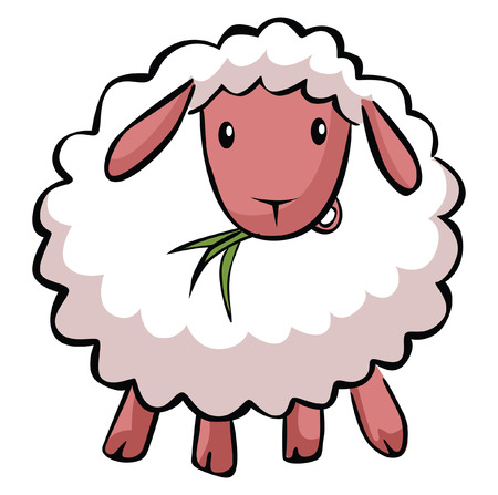 sheep wool: Hapy sheep cartoon Illustration