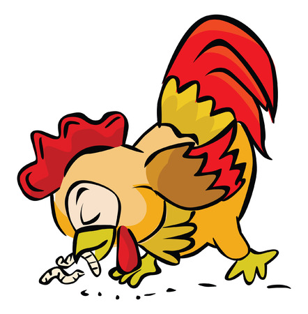 Rooster eating worm Vector