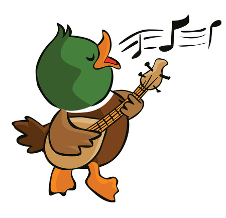 cartoon singing: singing duck
