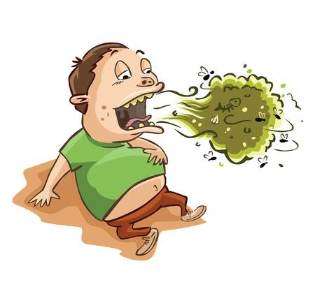 mal aliento: hombre el mal aliento y el est�mago lleno