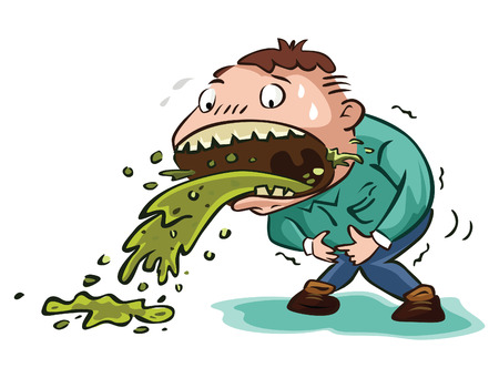 the vomiting: hombre vómito extrema Vectores