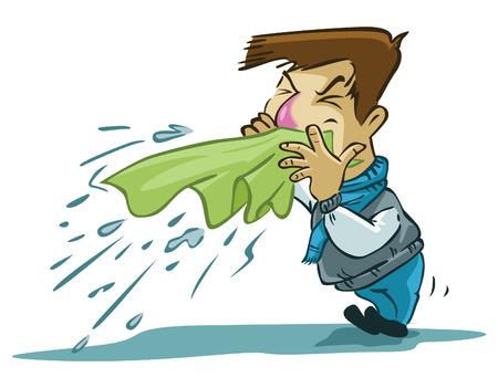 sneezes man  イラスト・ベクター素材