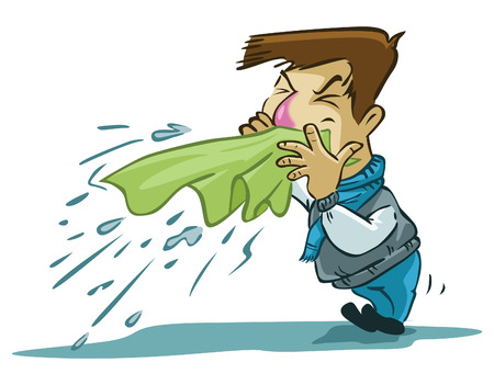 coughing: sneezes man Illustration