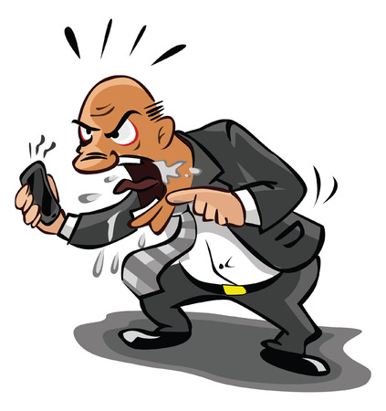 old business man: Old Business man angry at phone Illustration