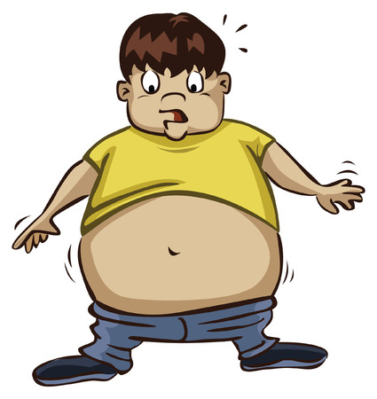 Obese Boy using a Small TShirt Illustration