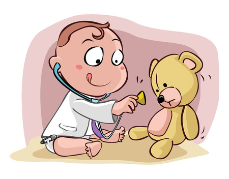stethoscope boy: Kids Doctor Illustration