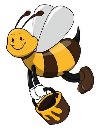 Bee holding honey Vector