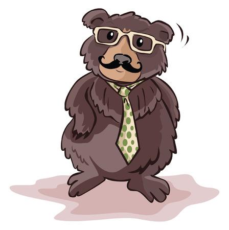 Bear using businessman costume Vector