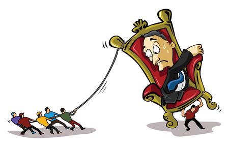 pulling: People pulling bad business man Illustration