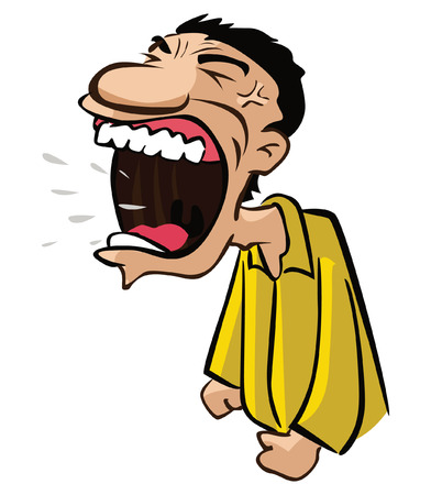 shouting: angry man with big shouting mouth Illustration