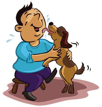 Man caring with dog Vector
