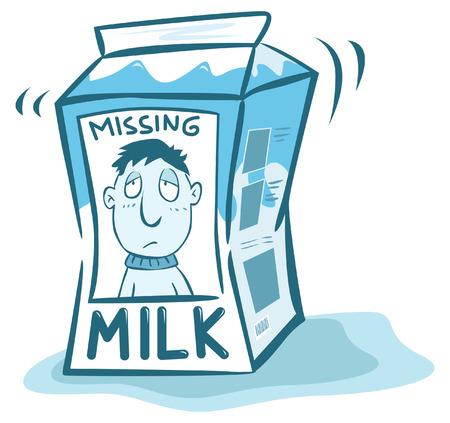 missing: Missing man on milk Illustration