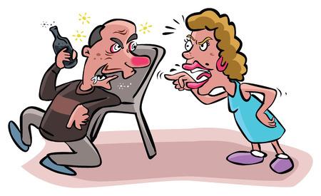 tomando alcohol: Sostiene esposa marido alcoh�lico Vectores