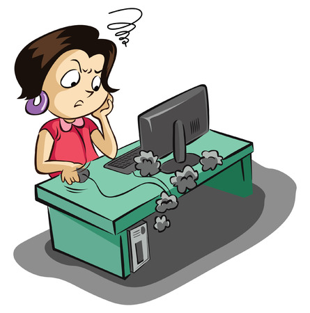 frustrated: Frustated business woman with her computer