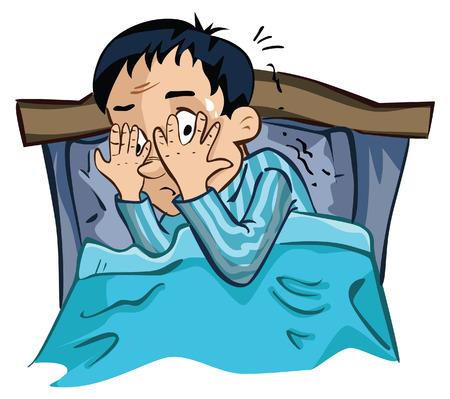 asustadotdo: Hombre Miedo a la hora de dormir Vectores