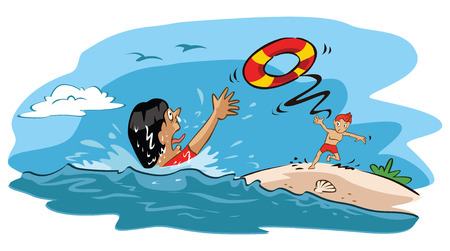 drown: Man rescues drowning woman Illustration